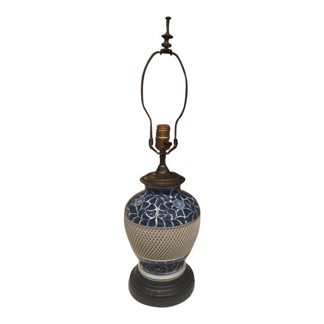 Vintage Blue and White Lattice Table Lamp - Image 1 of 5