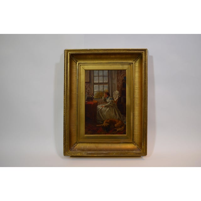 Mid 19th Century Antique E. Benson. 1864. Woman at a Window Oil Painting For Sale - Image 4 of 4