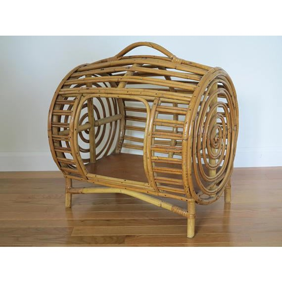 C.1930 Art Deco Abercrombie & Fitch Rattan Bamboo Pet Bed - Image 6 of 8