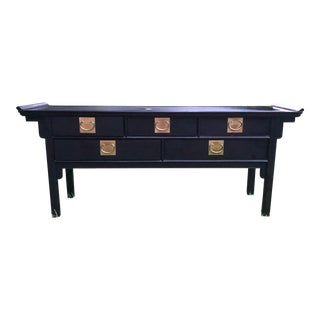 Century Furniture Black Lacquered Pagoda Console For Sale