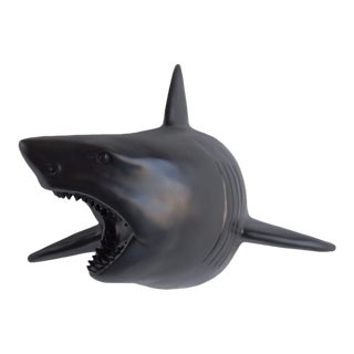 Wall Charmers Faux Black Shark Head Wall Sculpture For Sale