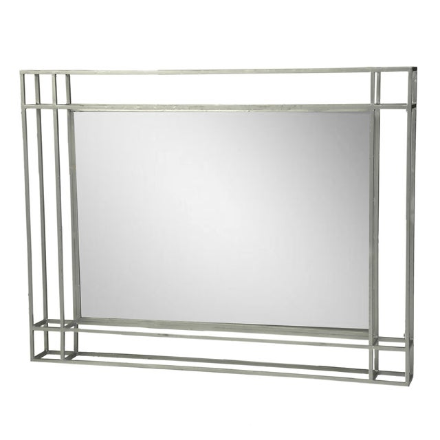 Silver Leaf Rectangular Metal Mirror For Sale