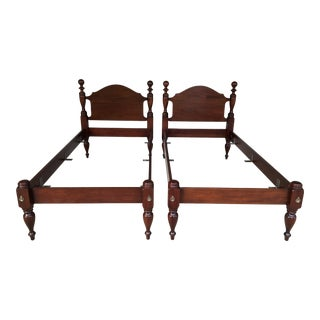 Vintage Solid Mahogany Cannonball Twin Beds - a Pair For Sale