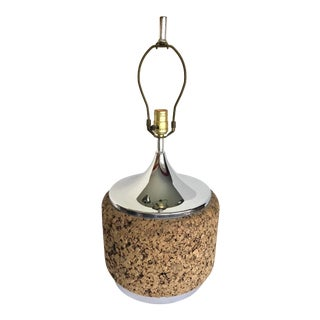 Vintage Cork and Chrome Table Lamp For Sale