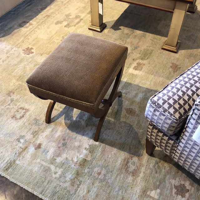 Wood Italian Upholstered Walnut Bench For Sale - Image 7 of 11