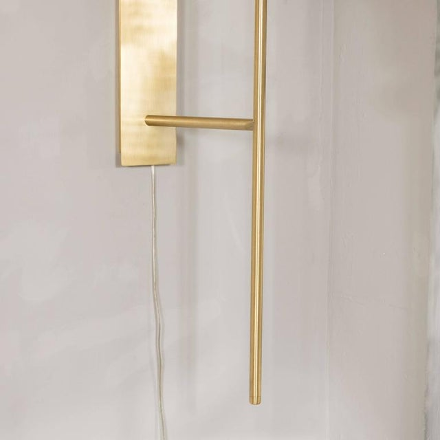 White Monumental Murano Milk Glass and Brass Reverse Dome Trophy Sconces - a Pair For Sale - Image 8 of 9