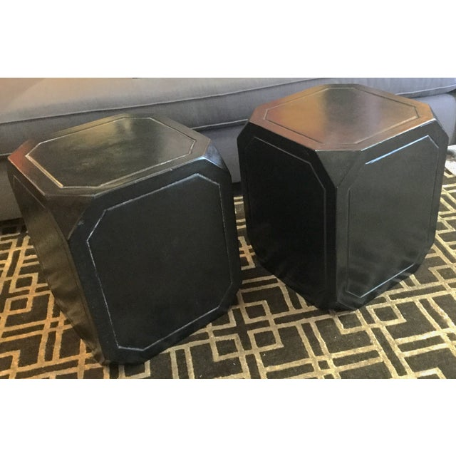Octagonal Concrete Tables - A Pair - Image 2 of 4