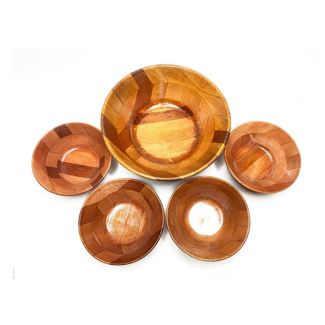 Vintage Mid Century Hand Crafted Wooden Serving Bowls - Set of 5 For Sale - Image 4 of 4