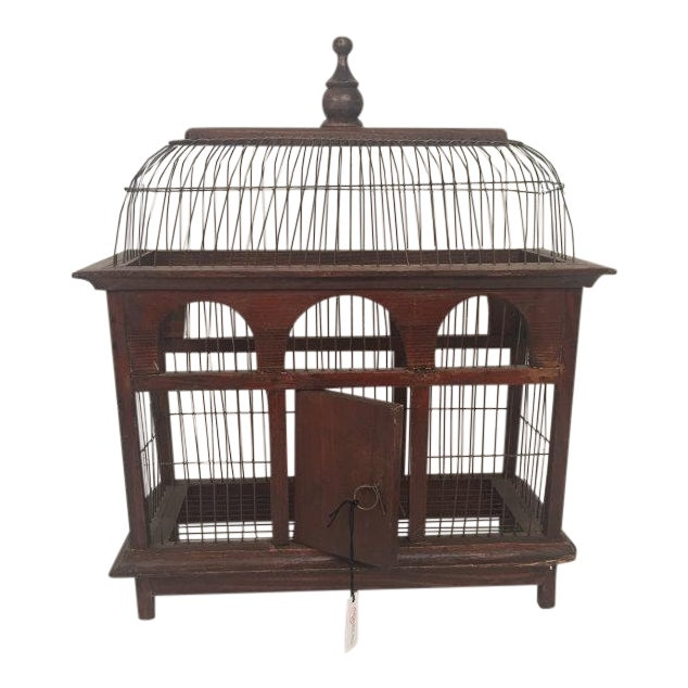 1940s Antique Wood & Metal Bird Cage - Image 1 of 6