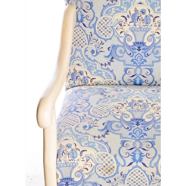 Early 21st Century Louis XIII Style Upholstered Arm Chairs- A Pair For Sale - Image 4 of 9