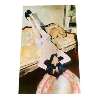 Vintage Chic Painting of a Woman on a Fainting Couch For Sale
