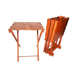 1940s Mid Century Modern Folding Red Wooden Tray Tables - Set of 4 For Sale