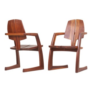 Pair of Wooden Studio Armchairs by H. Wayne Raab, Us, 1970s For Sale