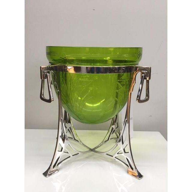 Wmf Green Glass Epergne on Silver Plated Stand For Sale In New York - Image 6 of 6