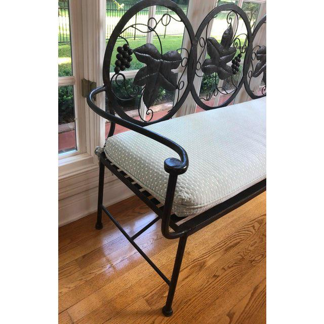 Offered is a heavy solid handmade iron bench purchased in Hickory, North Carolina in the early 90s from Maitland Smith....