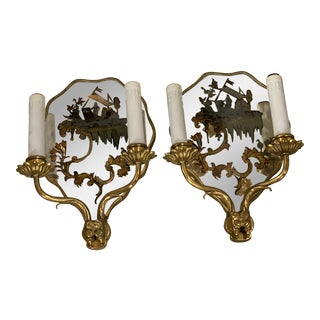 1920s Caldwell Mirrored Backplate Sconces - a Pair For Sale