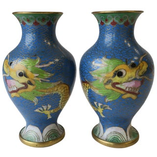 Pair of Chinese Blue Dragon Cloisonne and Brass Vases, Ca. 1970s For Sale