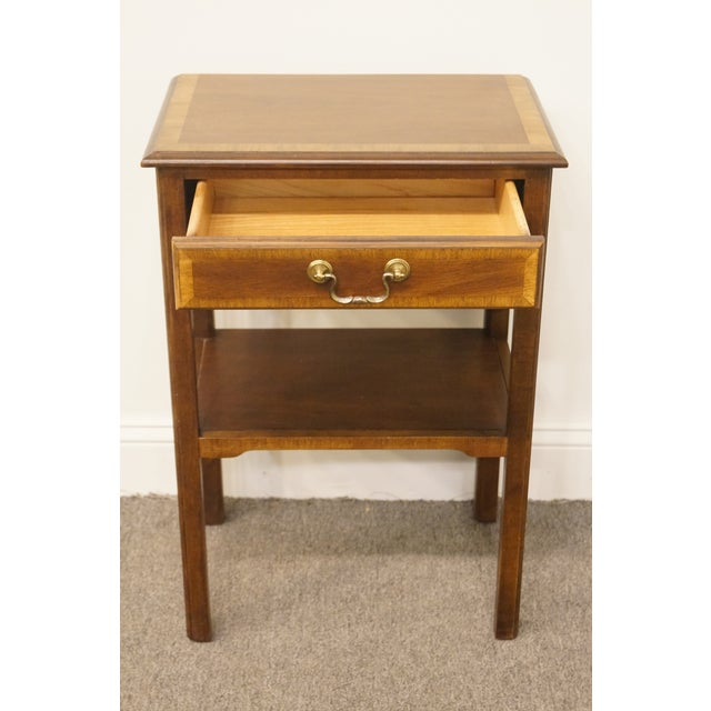 """20th Century Traditional Sherrill Furniture Banded Mahogany 18"""" Nightstand For Sale In Kansas City - Image 6 of 13"""