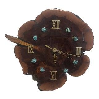 Mid-Century Live Edge Wood & Turquoise Clock For Sale