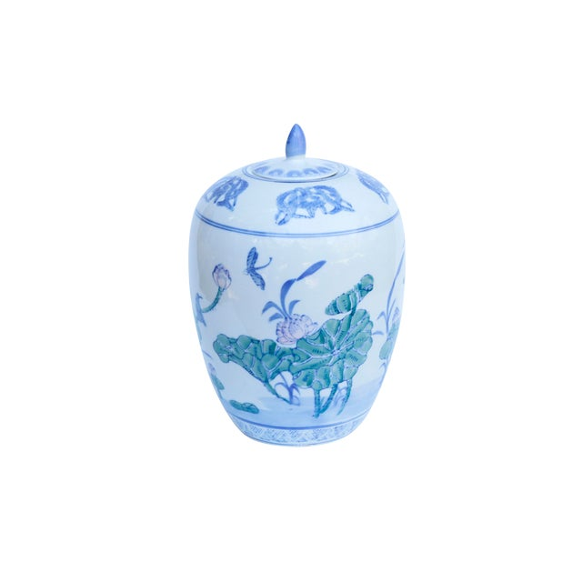 Chinoiserie Ceramic Ginger Jar With Lid For Sale