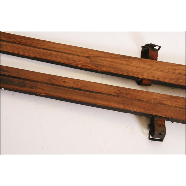 Vintage Rustic Wood Snow Skis - A Pair For Sale - Image 10 of 11