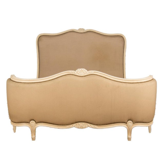 Brown 1950s Louis XV Style Queen Size Painted Bedframe With Curved Footboard For Sale - Image 8 of 8