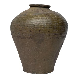 18th Century Meiji Japanese Green Provencial High Shouldered Vase For Sale