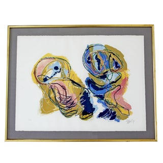 Mid Century Modern Framed 8 Color Lithograph Print Signed Appel 1950s 61/150