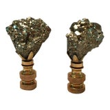 Image of Pyrite Lamp Finials - A Pair For Sale