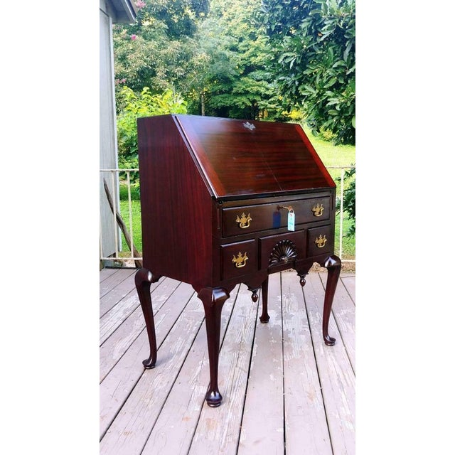 Antique Queen Anne Solid Mahogany Slant Drop Front Secretary Desk For Sale - Image 13 of 13