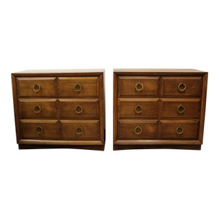 Mid-Century Modern Robsjohn Gibbings Wood Brass Gentleman Chests -a Pair For Sale