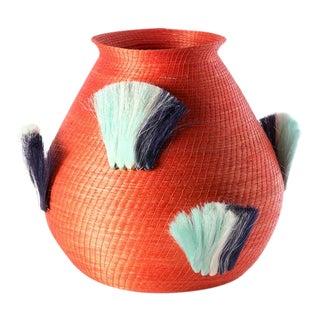 Fanned Out Large Bulbous Vase Tangerine & Turquoise Fans For Sale