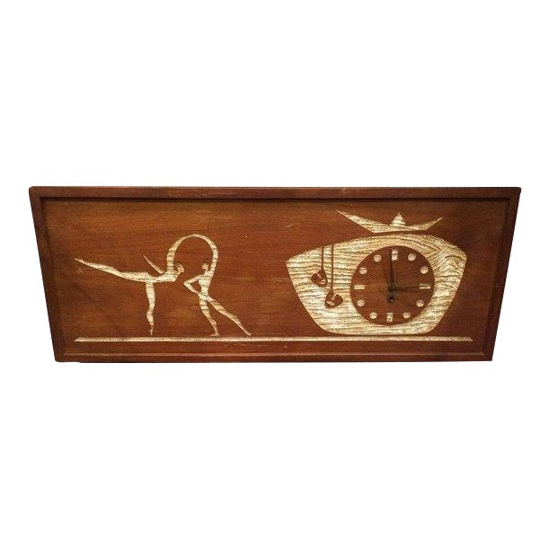 SOLD-Mid-Century Modern Carved Cork Wall Clock For Sale