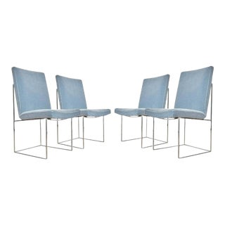 Milo Baughman Dining Chairs in Soft Blue - Set of 4 For Sale