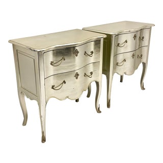 Pair of Silver Leaf French Style Chests For Sale