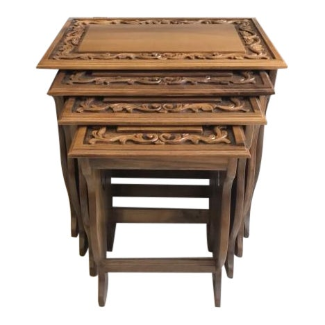 Walnut Carved Nesting Tables - Set of 4 For Sale