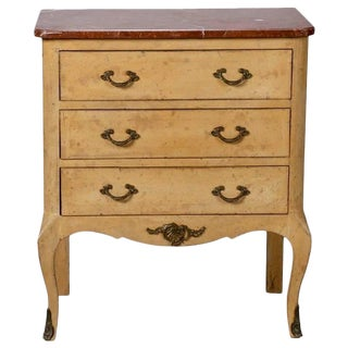 Small French Painted Chest with Marble Top and Bronze Embellishments For Sale