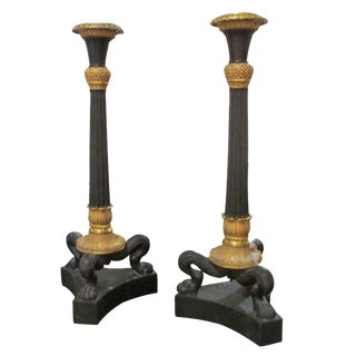 Pair of Bronze Regency Candlesticks For Sale