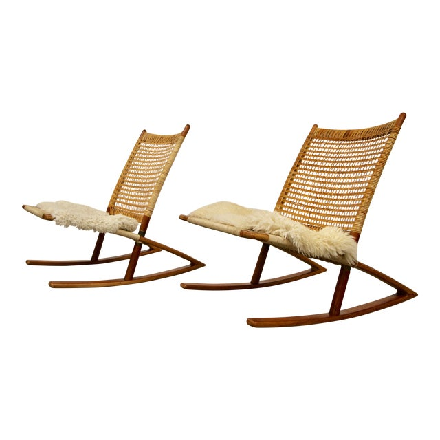 1950s Mid-Century Modern Frederik Kayser Rocking Chairs - a Pair For Sale