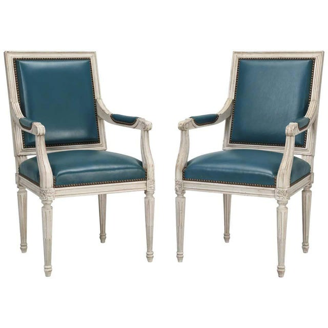 Louis XVI Style Arm Chairs- A Pair For Sale - Image 4 of 4