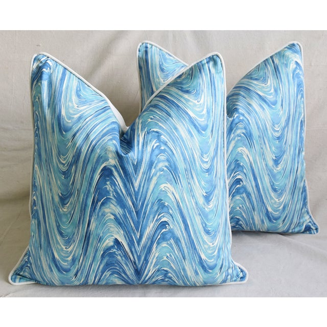 "Blue/White Marbleized Swirl Feather/Down Pillows 24"" Square - Pair For Sale - Image 13 of 13"