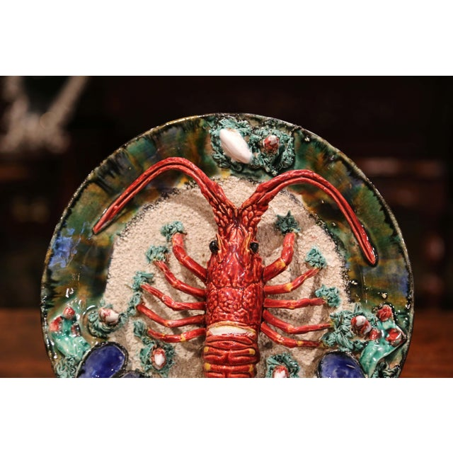 Early 20th Century French Ceramic Barbotine Lobster Platter From Brittany For Sale - Image 4 of 9