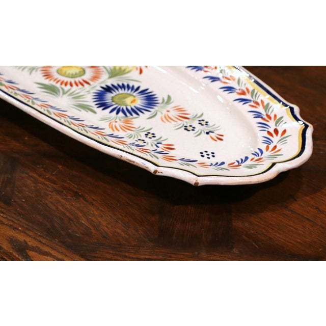 Mid-20th Century French Hand Painted Faience Fish Platter Quimper Style For Sale - Image 4 of 7
