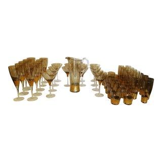 Contemporary Kim Seybert Paillette Gold Glassware - Set of 49 For Sale