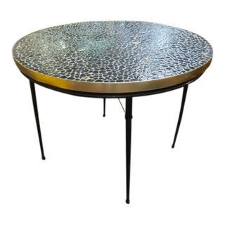 1960s Vintage Mid Century Modern Round Tile Top, Fold Up Dining Table For Sale