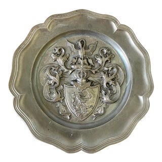 Vintage Pewter Wall Plate With Crest For Sale
