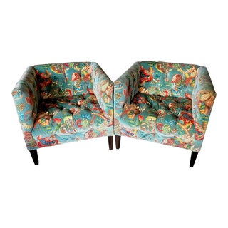 "Custom Wesley Hall ""Garland"" Tufted Velvet Club Chairs - a Pair For Sale"