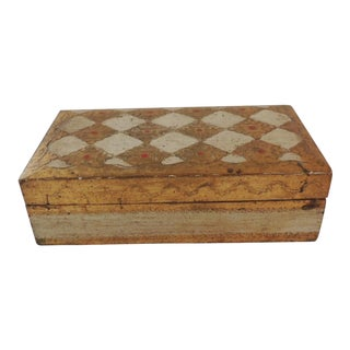 Gold and Red Florentine Jewelry Box For Sale