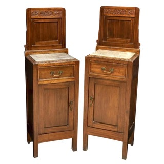 Antique Italian Art Nouveau Periord Carved Mahogany Tall Bedside Table Cabinet - a Pair For Sale