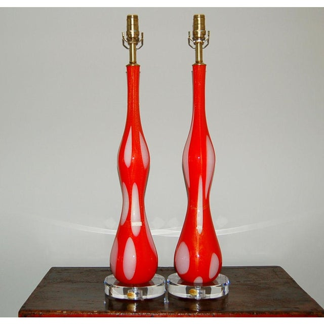 Hollywood Regency Vintage Murano Glass Table Lamps Orange and White For Sale - Image 3 of 10